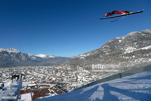 Richard Freitag of Germany competes on day 4 of the Four Hills Tournament Ski Jumping event at OlympiaSchanze on January 1 2015 in...