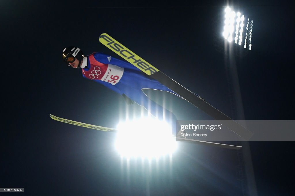 Richard Freitag of Germany jumps during Men's Normal Hill Individual Trial Round for Qualification at Alpensia Ski Jumping Centre on February 8, 2018 in Pyeongchang-gun, South Korea.