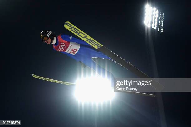 Richard Freitag of Germany jumps during Men's Normal Hill Individual Trial Round for Qualification at Alpensia Ski Jumping Centre on February 8 2018...