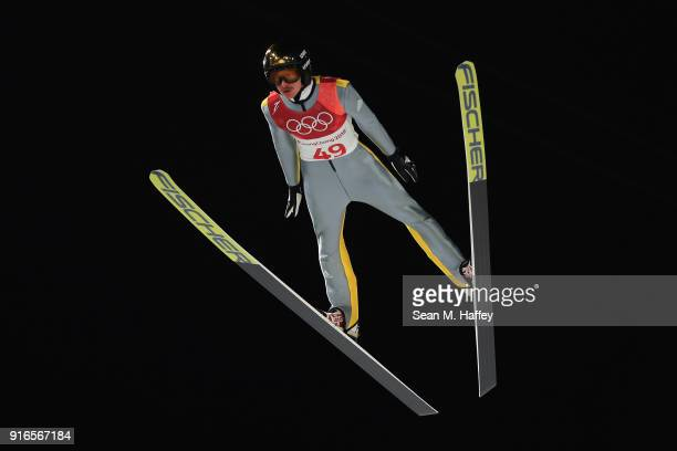Richard Freitag of Germany jumps during the Ski Jumping Men's Normal Hill Individual Final on day one of the PyeongChang 2018 Winter Olympic Games at...