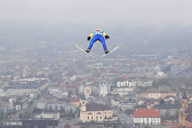 Richard Freitag of Germany jumps during the trial round of the HS130 men's ski jumping Competition of the FIS Nordic World Ski Championships at...