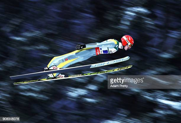 Richard Freitag of Germany soars through the air during his first competition jump of the Flying Hill Team competition of the Ski Flying World...