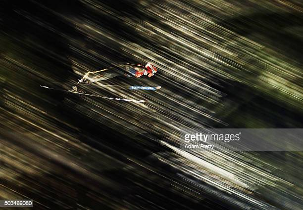 Richard Freitag of Germany soars through the air during his qualifying jump on day 1 of the Bischofshofen 64th Four Hills Tournament on January 5,...
