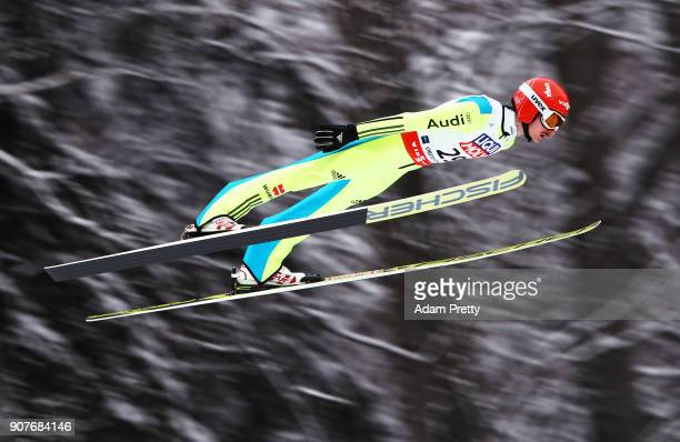 Richard Freitag of Germany soars through the air during his practice jump before the FIS Ski Flying World Championships final on January 20 2018 in...
