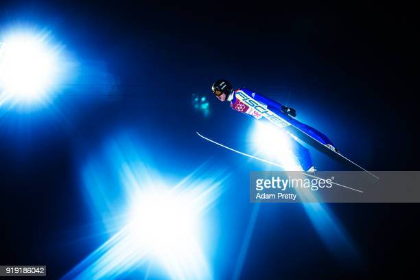 Richard Freitag of Germany soars through the air during the Ski Jumping Men's Large Hill Individual Qualification at Alpensia Ski Jumping Center on...