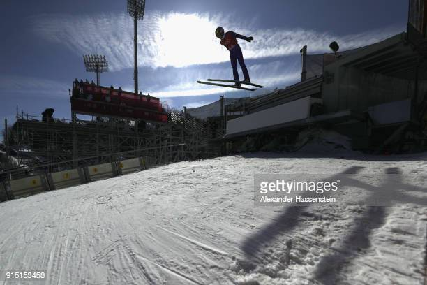 Richard Freitag of Germany trains for the Men's Normal Hill Ski Jumping ahead of the PyeongChang 2018 Winter Olympic Games at Alpensia Ski Jumping...