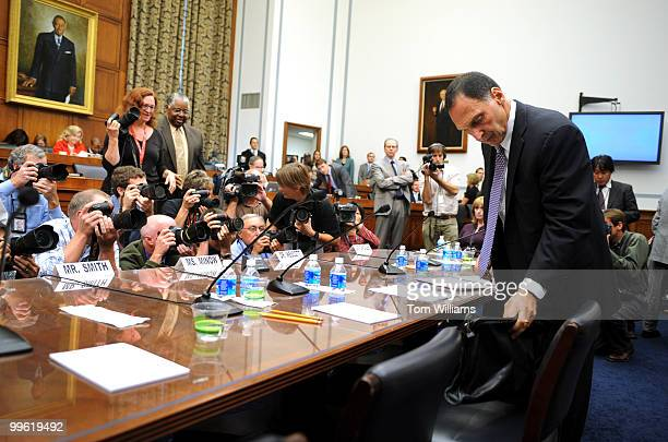 Richard Fuld Jr chairman and CEO of Lehman Brothers Holdings arrives at a House Oversight and Government Reform Committee hearing to discuss the...