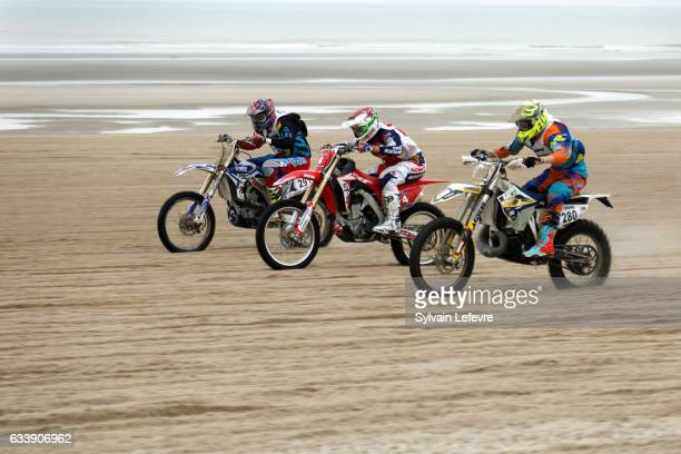 Richard Fura competes on his Honda during the Touquet Enduropale motorcycling race on February 5, 2017 in Le Touquet-Paris-Plage, France. Fura...