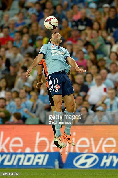 Richard Garcia of Sydney contests a high ball during the round 12 ALeague match between Sydney FC and Brisbane Roar at Allianz Stadium on December 26...