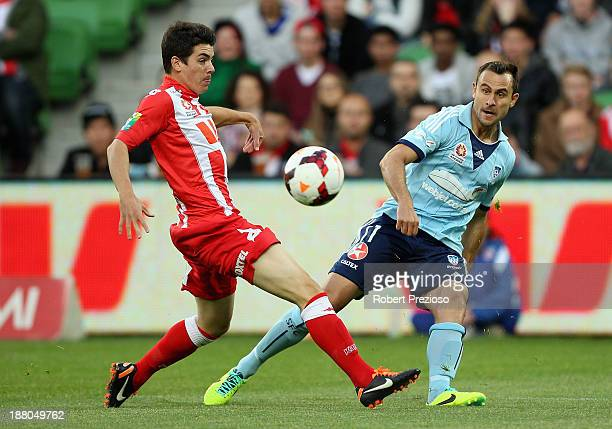 Richard Garcia of Sydney passes the ball during the round six ALeague match between the Melbourne Heart and Sydney FC at AAMI Park on November 15...