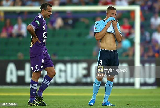 Richard Garcia of the Glory and Alex Gersbach of Sydney look on during the round seven ALeague match between Perth Glory and Sydney FC at nib Stadium...