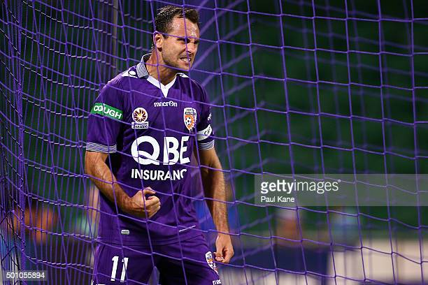 Richard Garcia of the Glory celebrates after a goal scored by Nebojsa Marinkovic during the round 10 ALeague match between the Perth Glory and the...