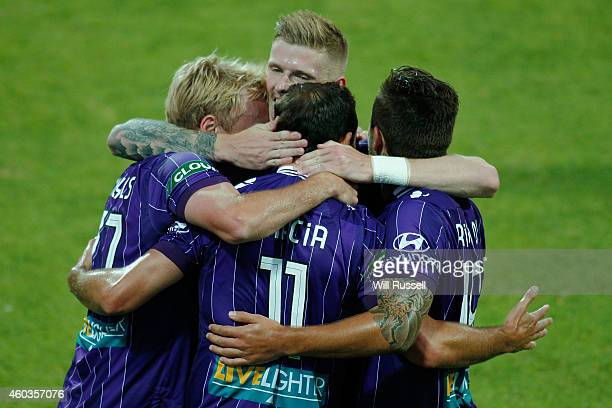 Richard Garcia of the Glory celebrates after scoring a goal during the round 11 ALeague match between Perth Glory and Newcastle Jets at nib Stadium...