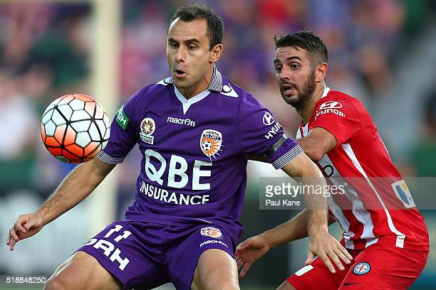 Richard Garcia of the Glory controls the ball against Michael Zullo of Melbourne during the round 26 ALeague match between the Perth Glory and...