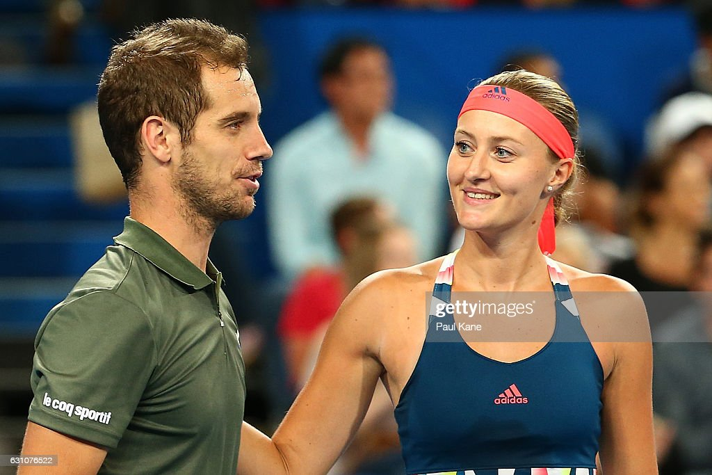 Richard Gasquet and Kristina Mladenovic of France look on after defeating Roger Federer and Belinda Bencic of Switzerland in the mixed doubles match during day six of the 2017 Hopman Cup at Perth Arena on January 6, 2017 in Perth, Australia.