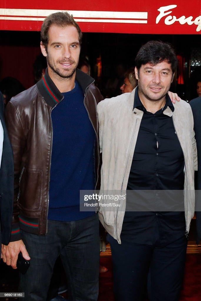 Richard Gasquet and Sebastien Grosjean attends 'Diner des Legendes' at Le Fouquet's on June 6, 2018 in Paris, France.