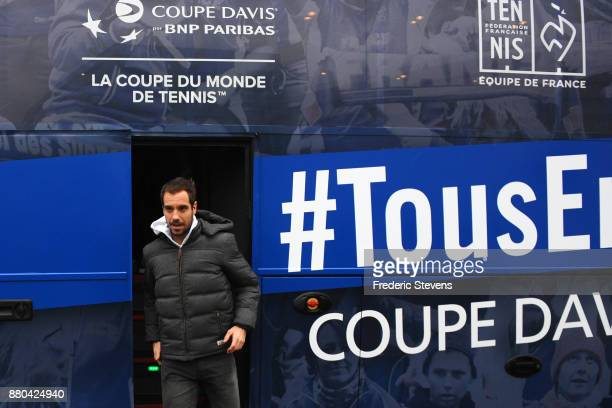 Richard Gasquet arrives at NTC after victory over Belgium at the weekend in Villeneuve d'Ascq on November 27 2017 in Paris France