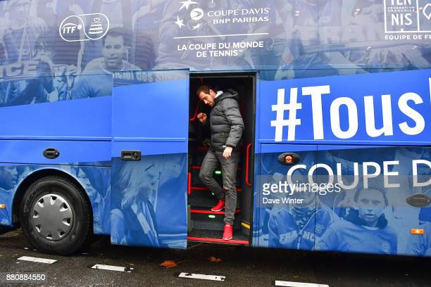 Richard Gasquet arrives for the presentation of the Davis Cup winning team to the staff of the French Tennis Federation at Roland Garros on November...