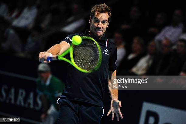 Richard Gasquet during a match against Rafael Nadal in the semi finals of the Swiss Indoors at St Jakobshalle in Basel Switzerland on October 31 2015