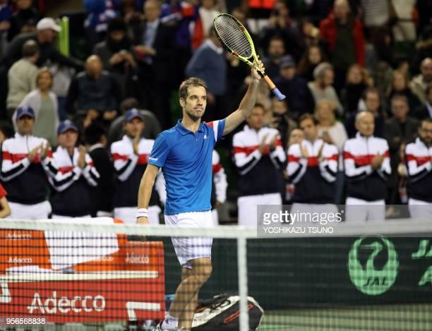 Richard Gasquet lors sa victoire dans le premier match de Coupe Davis contre le Japon le 3 février 2017 à Tokyo Japon Richard Gasquet a gagné 62 63 62
