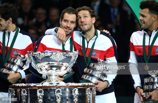 Richard Gasquet Lucas Pouille celebrate winning the Davis Cup during the trophy presentation on day 3 of the Davis Cup World Group final between...