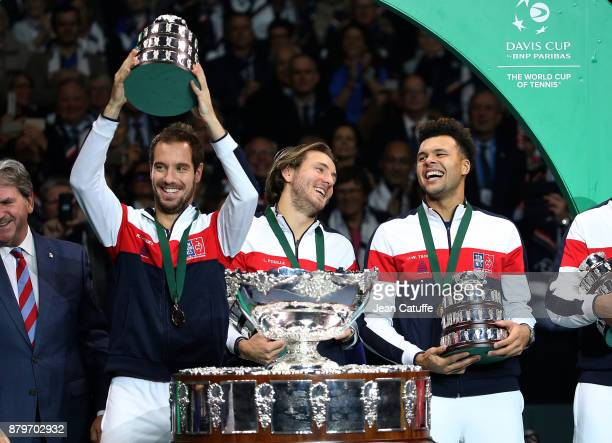 Richard Gasquet Lucas Pouille JoWilfried Tsonga celebrate winning the Davis Cup during the trophy presentation on day 3 of the Davis Cup World Group...