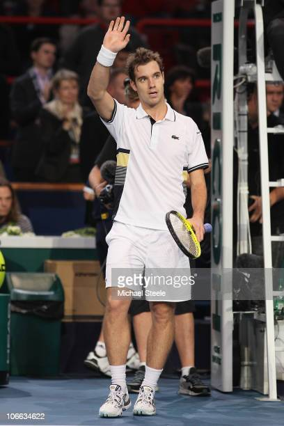 Richard Gasquet of France acknowledges the crowd after his 21 set victory against Nicolas Mahut of France during Day Two of the ATP Masters Series...