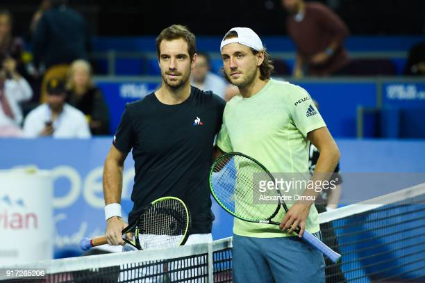 Richard Gasquet of France and Lucas Pouille of France during the Final Open Sud of France ATP Montpellier on February 11 2018 in Montpellier France