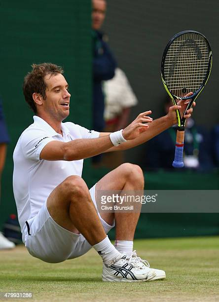 Richard Gasquet of France celebrates at match point after winning his Gentlemens Singles Quarter Final match against Stanislas Wawrinka of...