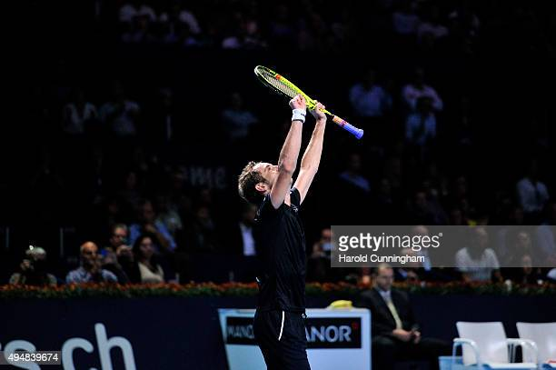 Richard Gasquet of France celebrates his victory during the second day of the Swiss Indoors ATP 500 tennis tournament against Dominic Thiem of...
