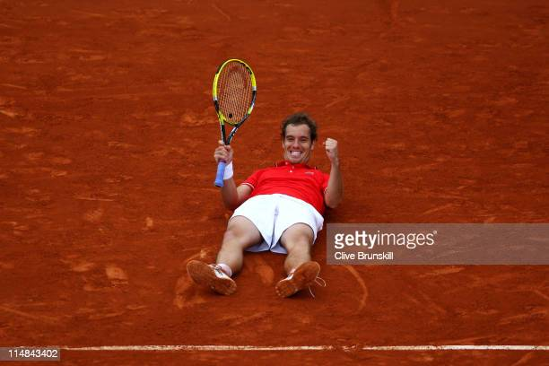 Richard Gasquet of France celebrates match point during the men's singles round three match between Richard Gasquet of France and Thomaz Bellucci of...