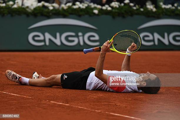 Richard Gasquet of France celebrates victory during the Men's Singles fourth round match against Kei Nishikori of Japan on day eight of the 2016...