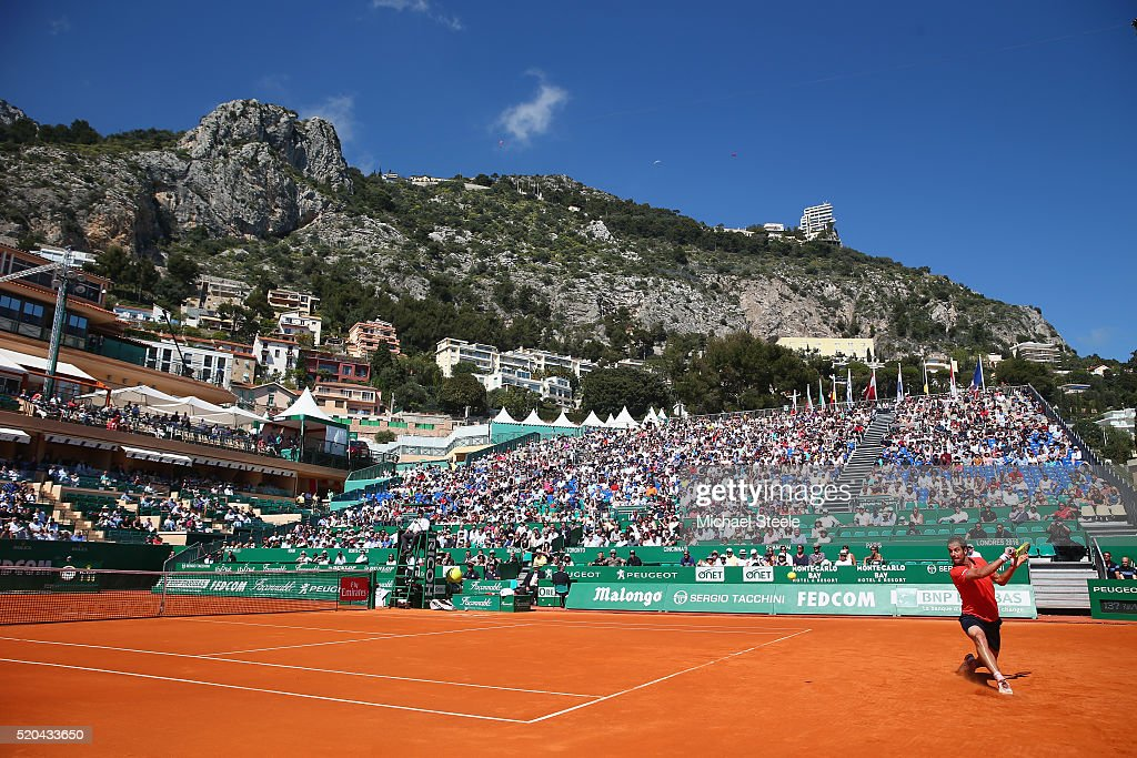 Richard Gasquet of France during his straight sets victory against Nicolas Almagro of Spain during day two of the Monte Carlo Rolex Masters at Monte-Carlo Sporting Club on April 11, 2016 in Monte-Carlo, Monaco.