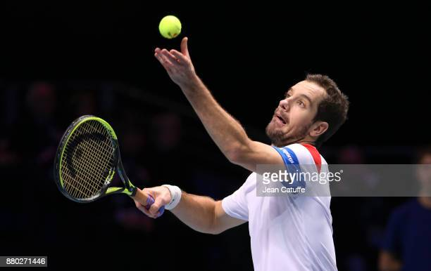 Richard Gasquet of France during the doubles match on day 2 of the Davis Cup World Group final between France and Belgium at Stade Pierre Mauroy on...