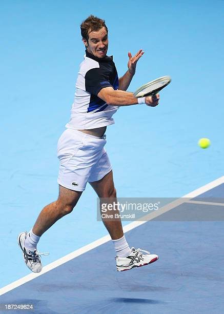 Richard Gasquet of France hits a forehand during his men's singles match against Roger Federer of Switzerland during day four of the Barclays ATP...