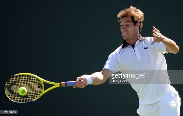 Richard Gasquet of France hits a forehand in his match against Simon Greul of Germany during the BNP Paribas Open at the Indian Wells Tennis Garden...