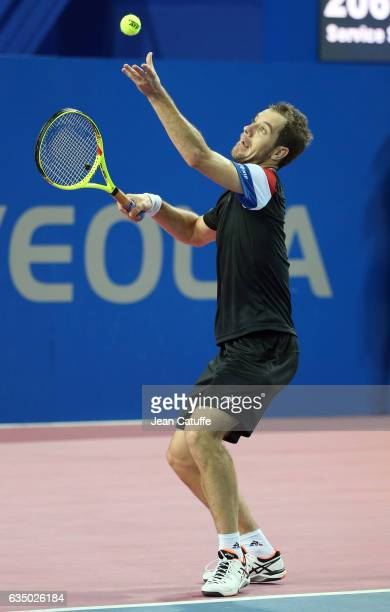 Richard Gasquet of France in action during day 6 of the Open Sud de France an ATP Tour 250 tournament at Arena Montpellier on February 11 2017 in...