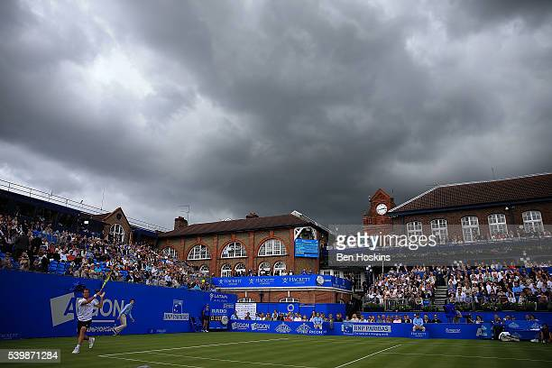 Richard Gasquet of France in action during his first round match against Steve Johnson of The USA day one of the Aegon Championships at Queens Club...
