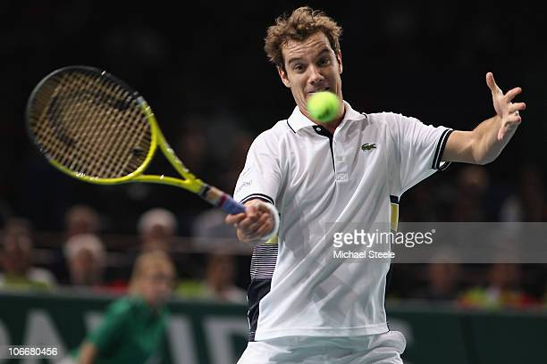 Richard Gasquet of France in action during his match against Roger Federer of Switzerland during Day Four of the ATP Masters Series Paris at the...