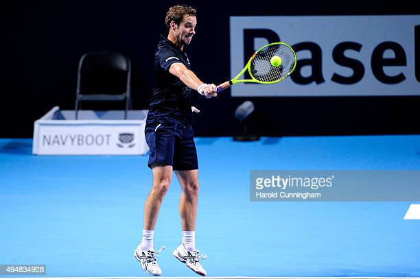 Richard Gasquet of France in action during the second day of the Swiss Indoors ATP 500 tennis tournament against Dominic Thiem of Austria at St...