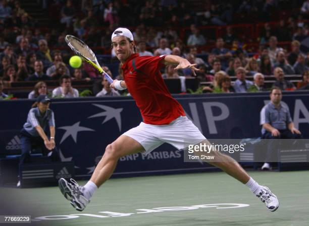 Richard Gasquet of France in action during the semi final against David Nalbandian of Argentina during the ATP Masters Series at the Palais...