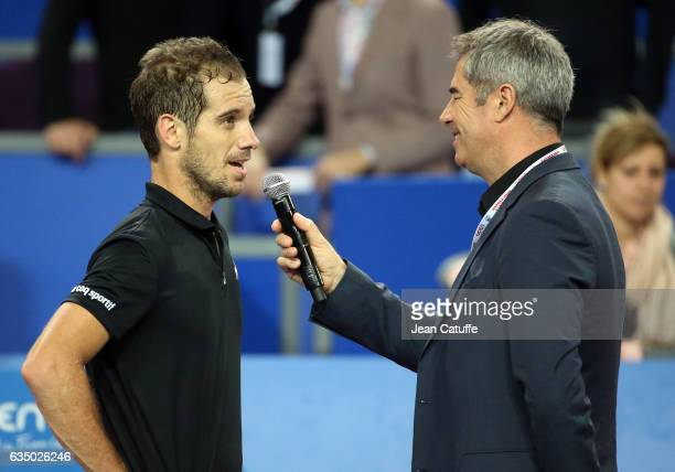 Richard Gasquet of France interviewed by Marc Maury during day 6 of the Open Sud de France an ATP Tour 250 tournament at Arena Montpellier on...