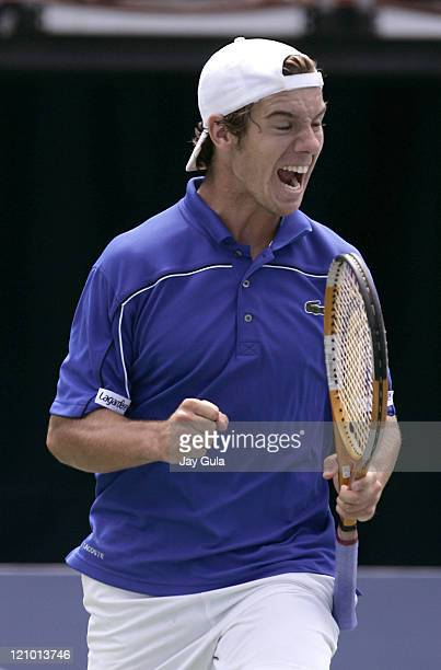 Richard Gasquet of France lets out his emotions after winning his match vs Andy Murray of Great Britian in their semi- final match at the Rogers Cup...