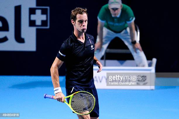 Richard Gasquet of France looks on during the second day of the Swiss Indoors ATP 500 tennis tournament against Dominic Thiem of Austria at St...