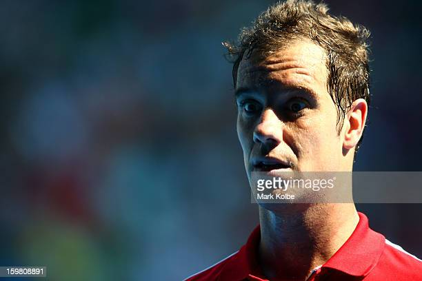 Richard Gasquet of France looks on in his fourth round match against Jo-Wilfried Tsonga of France during day eight of the 2013 Australian Open at...
