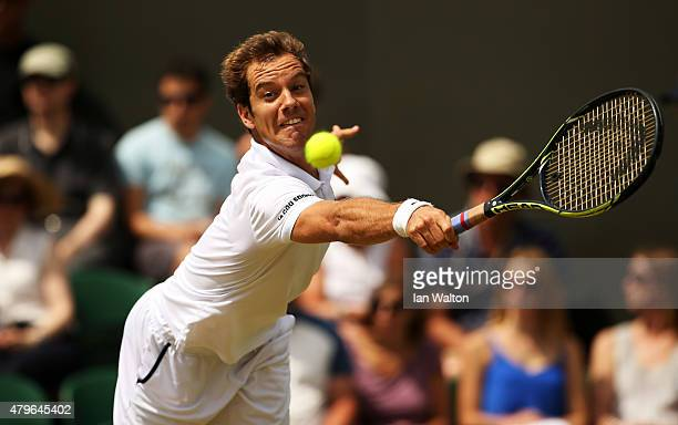 Richard Gasquet of France plays a backhand in his Gentlemen's Singles Fourth Round match against Nick Kyrgios of Australia during day seven of the...