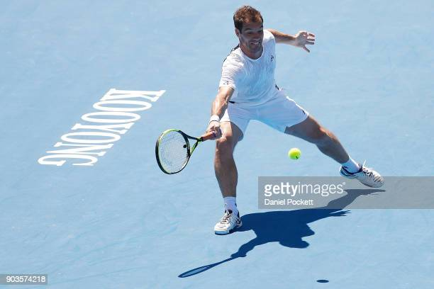 Richard Gasquet of France plays a forehand against Matt Ebden of Australia during day three of the 2018 Kooyong Classic at Kooyong on January 11 2018...