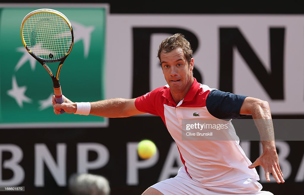 Richard Gasquet of France plays a forehand against Sam Querrey of the USA in their first round match during day one of the Internazionali BNL d'Italia 2013 at the Foro Italico Tennis Centre on May 12, 2013 in Rome, Italy.