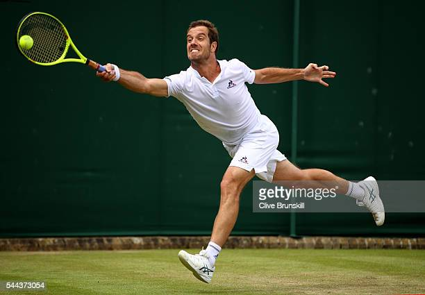 Richard Gasquet of France plays a forehand during the Men's Singles third round match against Albert Ramos-Vinolas of Spain on Middle Sunday of the...