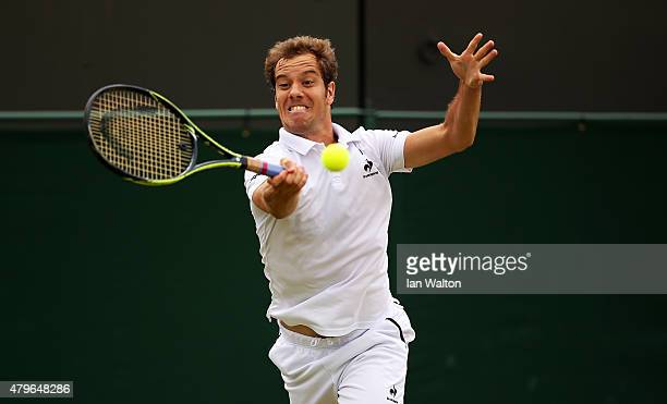 Richard Gasquet of France plays a forehand in his Gentlemen's Singles Fourth Round match against Nick Kyrgios of Australia during day seven of the...